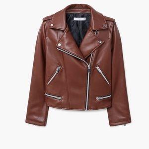 Mango Faux leather brown jacket